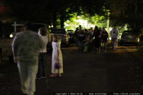 trick or treaters in the street in lake oswego, oregon