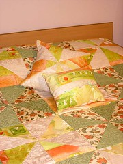 quilt, art, orange, duvet cover, textile, patchwork, linens, quilting, bed sheet,