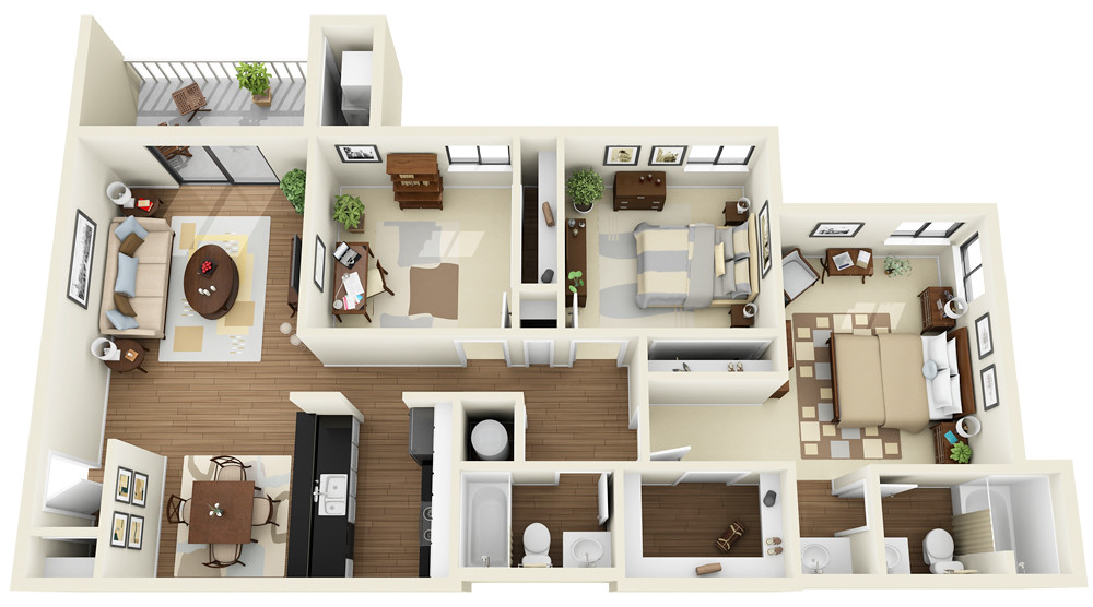 3bedroom 2bath 3d Floor Plan Www Coralclubapts Com Flickr