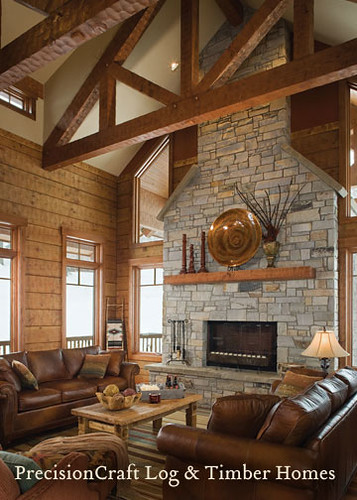 Timber frame home great room by precisioncraft log homes for Timber frame great room