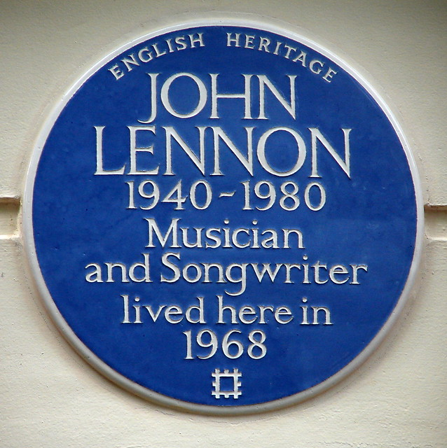 John Lennon blue plaque - John Lennon  1940-1980  musician  and songwriter  lived here in  1968