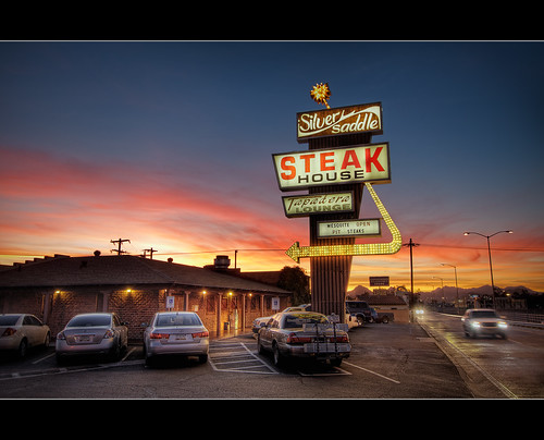 sunset arizona classic sign bulb canon silver iso100 restaurant twilight highway tucson sigma flourescent nik roadside googie 1020mm benson f8 hdr saddle steakhouse blending photomatix t1i