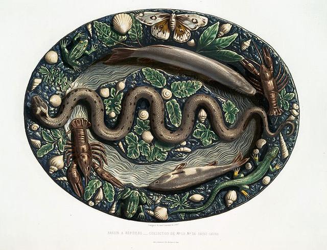 005-Cuenco decorado con reptil y animales basicamente marino-Monographie de l'oeuvre de Bernard Palissy…1862s