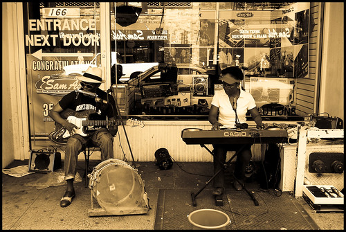 Some musicians in front of Sam Ash Music store on 48th street.