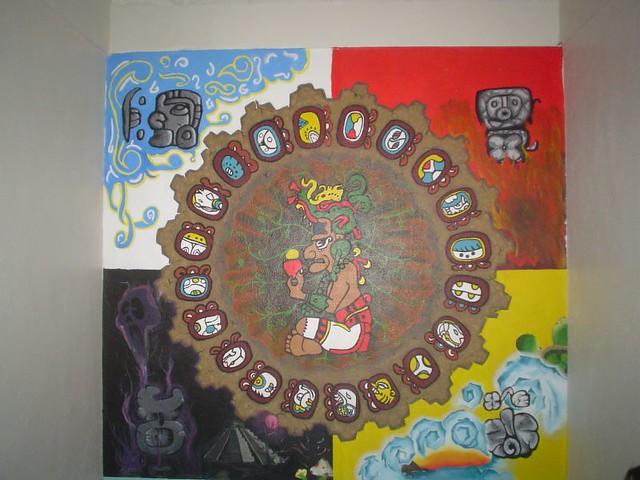 Calendario maya mural en pflc mural en uno de los for Mural prepa 1 uaemex