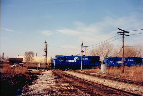 Southbound Conrail light engine move. Brighton Junction. Chicago Illinois. January 1988. by Eddie from Chicago