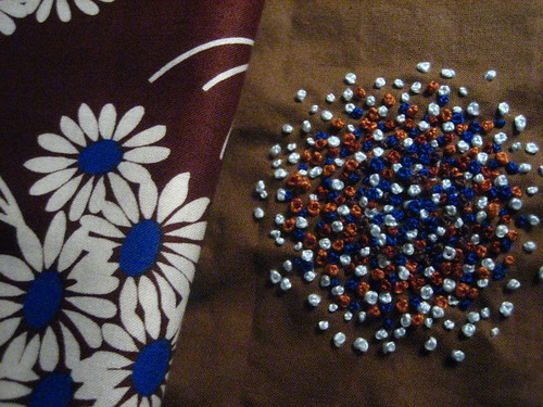 French Knots - Blues and Browns on Brown