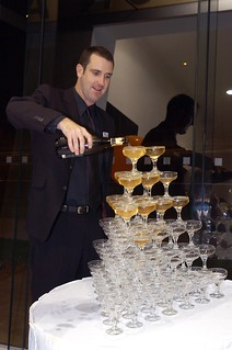 Sean filling the champagne tower