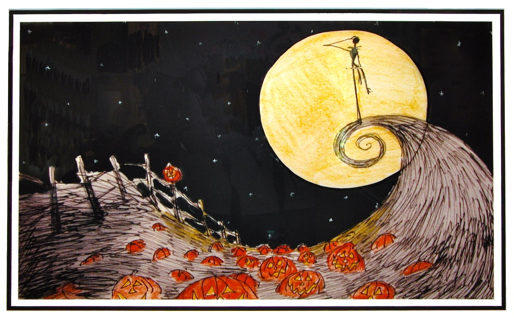 ... Skellington at the Pumpkin Patch - Nightmare Before Christmas Print Nightmare Before Christmas Pumpkin Patch Drawing