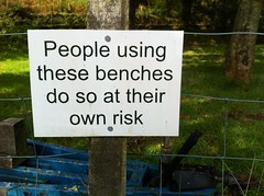 People using these benches do so at their own risk