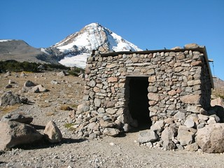 Warming hut on the slopes of Mount Hood, Cooper Spur Trail, Mount Hood National Forest, Oregon