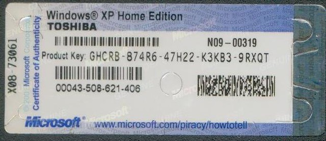 Windows 39 xp home edition oem toshiba product key flickr for Window xp product key