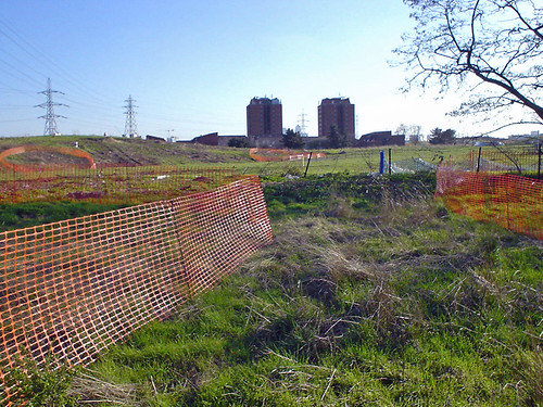 A site where the weeds have all been treated, the orange fenced off areas show Japanese Knotweed which requires further treatment