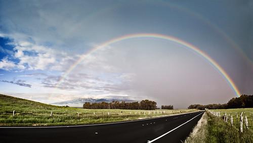 road sky clouds landscape hawaii rainbow atmosphere maui pasture kula upcountry haleakalaranch oldhaleakalahighway