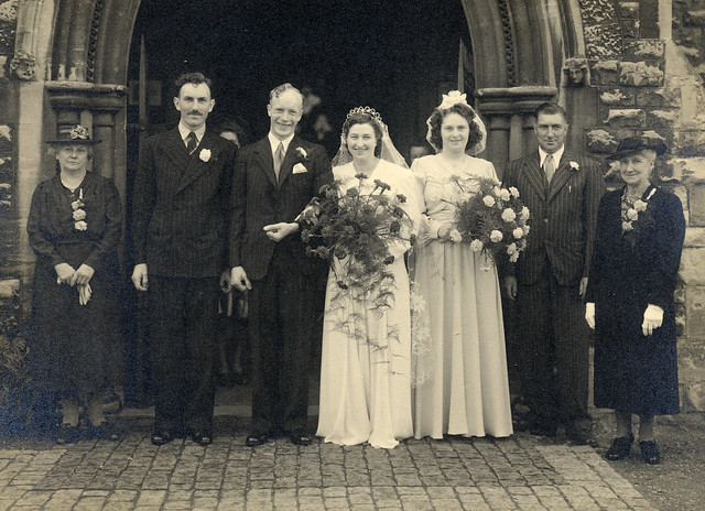 1940s wedding group outside the church