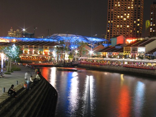 Clarke Quay at night, from a distance