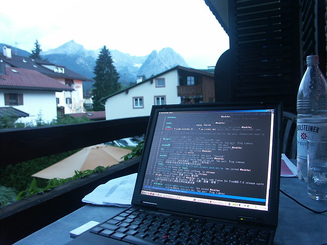 #bsdchat under Alpen, Garmisch-Partenkirchen, Deutschland.