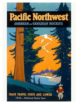 Pacific northwest railroad train vintage travel poster for Vintage train posters