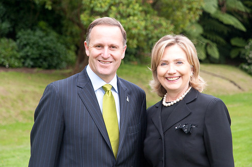 Secretary of State Hillary Clinton with New Zealand Prime Minister John Key