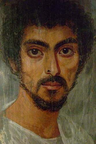Mummy Portrait of a Man with a Mole on his Nose Egypt 130-150 CE Encaustic on limewood by mharrsch