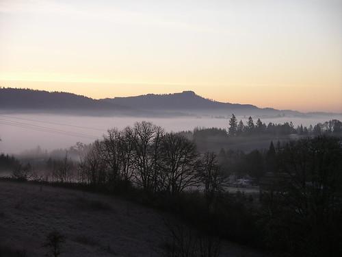 fog oregon sunrise