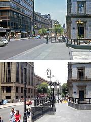 Antes y después - Calle 5 de Mayo, ciudad de México