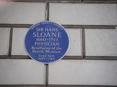 Photo of Hans Sloane blue plaque