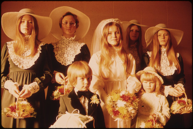 Photograph of a Bride and Her Attendants in New Ulm, Minnesota.