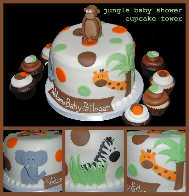 Jungle Themed Baby Shower Cupcake Tower