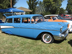 ford ranch wagon(0.0), convertible(0.0), automobile(1.0), automotive exterior(1.0), 1957 chevrolet(1.0), vehicle(1.0), full-size car(1.0), antique car(1.0), chevrolet bel air(1.0), sedan(1.0), land vehicle(1.0), luxury vehicle(1.0),