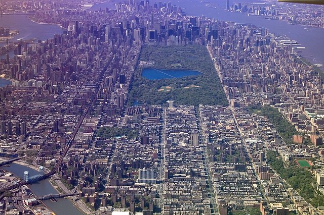 Central Park, New York City, from in-flight