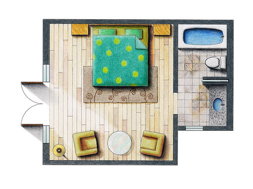 Floor plan rendering a photo on flickriver for Color floor plans
