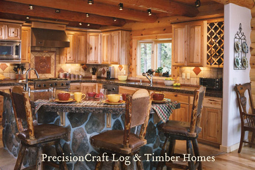 Kitchen In A Custom Log Home Located In Idaho