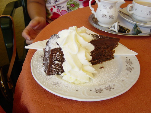 World famous Sachertorte mit schlagober (whipped cream)