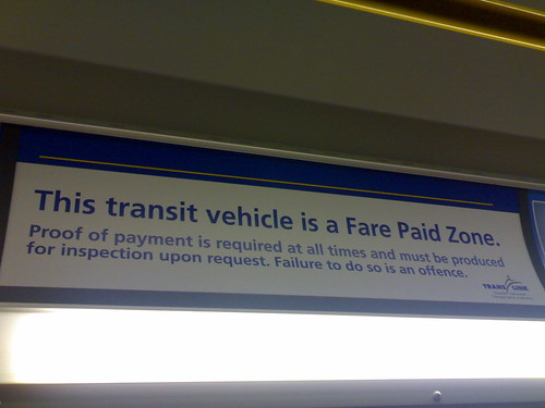 This transit vehicle is a Fare Paid Zone
