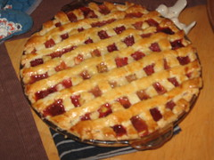 pie, meal, breakfast, linzer torte, baked goods, food, dish, dessert, cherry pie, cuisine,