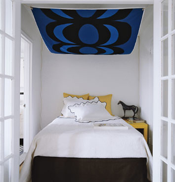 Bedroom Ideas  Small Bedrooms on Ideas For Small Bedrooms  Abstract Art Canopy  Domino Magazine