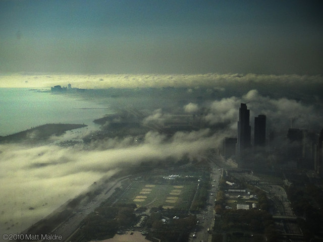 Fog rolls into Museum Campus and One Museum Park of Chicago