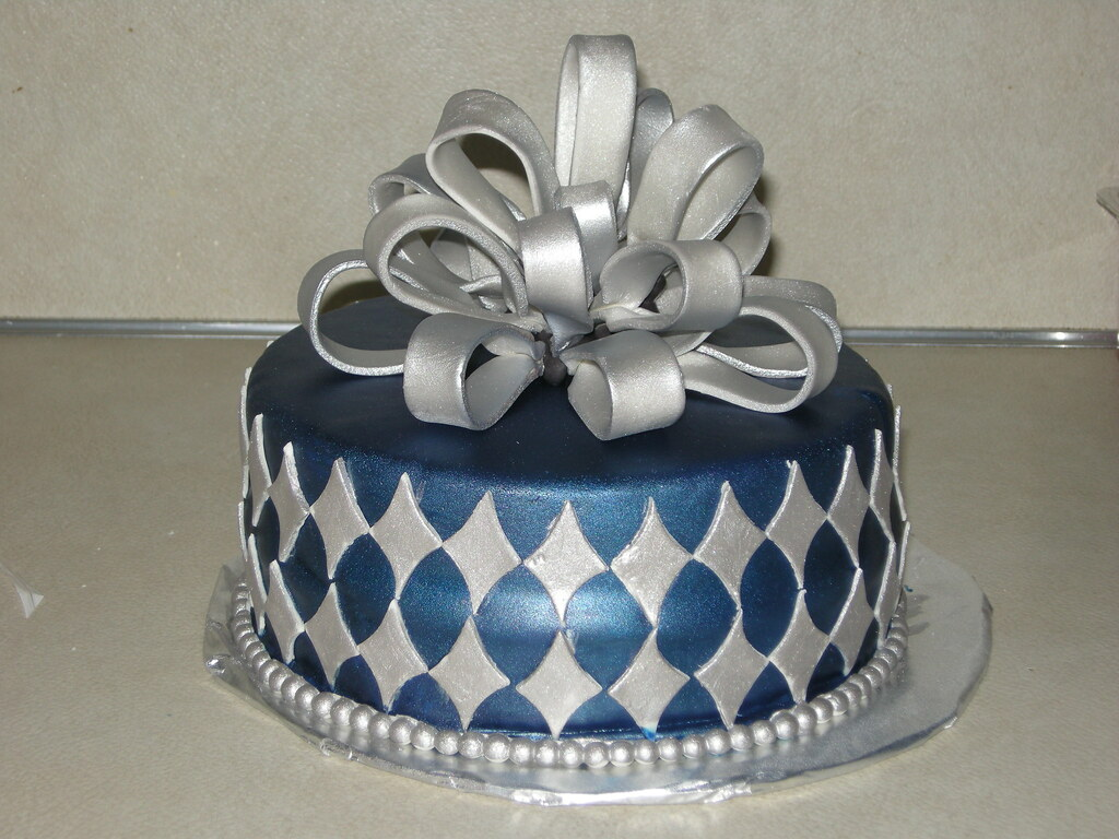 blue and silver birthday cake a photo on Flickriver