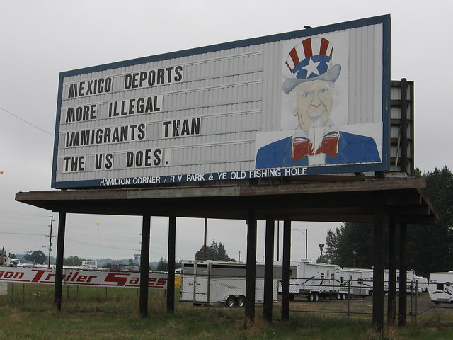 Uncle Sam Sign Northbound I-5 at Chehalis, WA