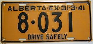 ALBERTA 1940 (EX-31-3-41) auto license plate