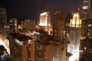 Chicago nightscape, from far above Michigan Avenue at Rush Street | by ninjapoodles