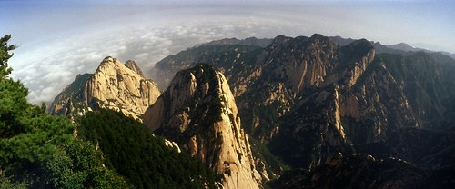 china mountain tourism nature scenery asia superia horizon panoramic holy 陕西 shaanxi huashan 华山