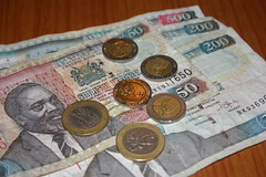 Kenyan Shilling notes and coins