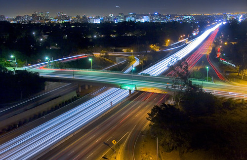 california longexposure belair skyline night losangeles highway freeway infrastructure interstate i405 westwood centurycity sunsetblvd sunsetboulevard lighttrail the405 sandiegofreeway interstate405 newtopography newtopographics southerncaliforniafreeways newtopographic