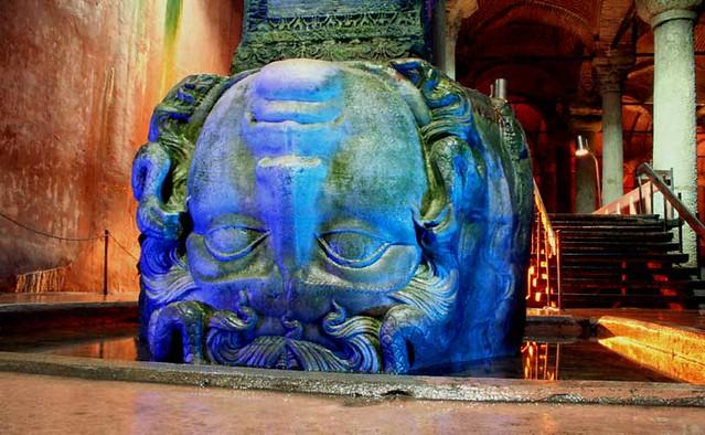 medusa head yerebatan sarayi istanbul flickr photo