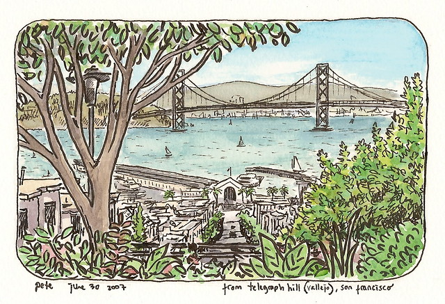 view of the bay bridge from telegraph hill
