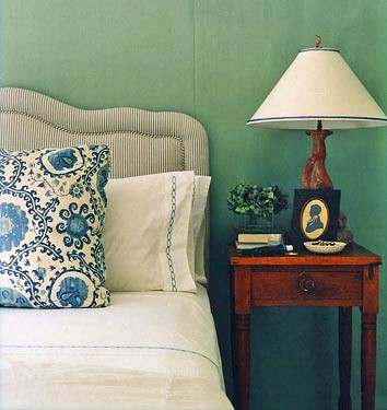 'Green Blue' by Farrow & Ball: Bedroom designed by Annsley McAleer