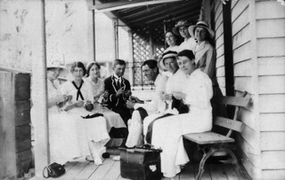 Pilliga Red Cross members knitting socks for soldiers in World War I - Pilliga, NSW, 1915 / photographer unknown