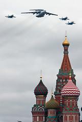 Beriev A-50 & Sukhoi Su-27&Su-30 over Saint Basil's Cathedral